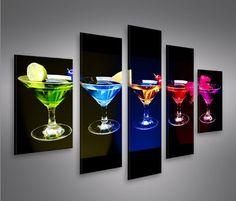 5 Piece Canvas Art, Cocktails, Flute, Breakfast Nook, Bottles, Trendy Tree, Fotografia, Wall Canvas, Art Print