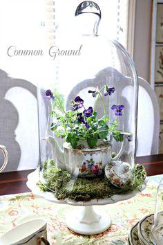 Sweet Teapot Planter Cloche Centerpiece