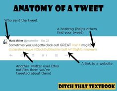 anatomy of a tweet Instructional Technology, Educational Technology, Teacher Blogs, Math Teacher, Teach Like A Pirate, Best Tweets, Content Area, High School English, Social Networks