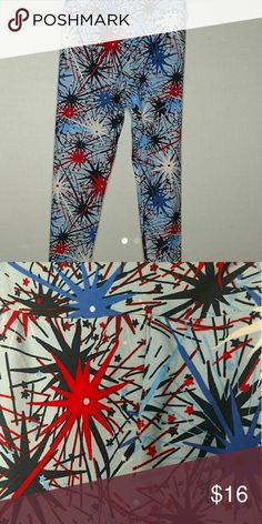 Lularoe Americana Tween leggings Lularoe Americana Tween leggings background light blue with fireworks in red, royal blue, and navy LuLaRoe Bottoms Leggings