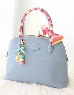 Blue Hermes bag and Twilly.