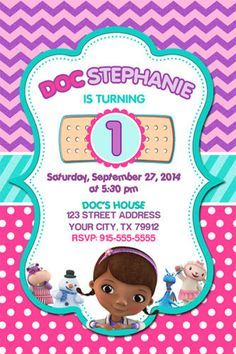 Beautiful Doc McStuffins Birthday Party Invitation For Your Little Girls Celebration This Invite Can Be