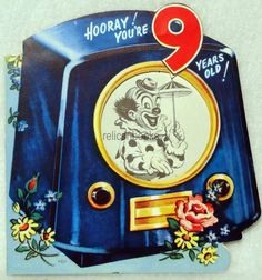 Vintage greeting card television tv telecast motion moveable circus 144 50s 1950 round screen television tv vintage birthday greeting card ebay bookmarktalkfo Images