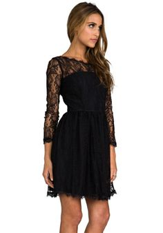 Delicate Lace Dress in Pitch Black