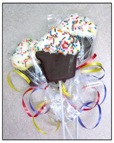 These great treats were brought in for Chloe T.'s b'day in place of actual cupcakes.  They are candy coated pineapple slices in the shape of a cupcake!