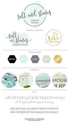 Aqua Watercolor Script Logo Design / Branding Board / Photography Premade Calligraphy Stamp / Interior Design Blogger Watermark /001