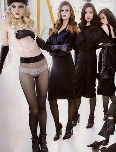 Jessica Stam, Behati Prinsloo, Du Juan, & Hye Park in 'La Leçon de Mode' for Vogue Paris, August 2006. Shot by Mario Testino. Styled by Carine Roitfeld.
