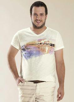 Camiseta Decote V Flamê Listrado Wee! - Posthaus
