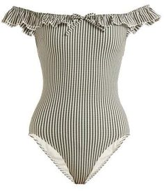 Solid & Striped - The Amelia Off The Shoulder Swimsuit - Womens - Green Stripe Best Swimsuits, Women Swimsuits, Off Shoulder Bathing Suit, Striped Swimsuit, Ruffle Swimsuit, Bathing Suits One Piece, Beach Skirt, Swimming Costume, Beachwear