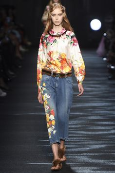 Blumarine, We love we r wearing scattered floral graphic and embroidered on silk and denim, short pants and jeans