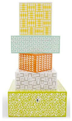 Fiona Howard Boxes for Wolf Designs via the Print and Pattern Blog