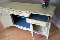 Doors and drawers of French Provincial Buffet.
