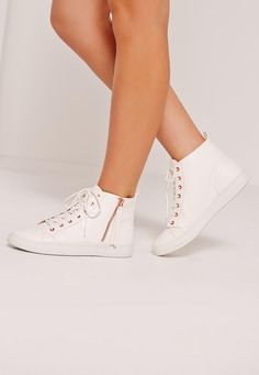 efbd0a5dae1f5d Missguided - White Contrast Zip High Top Trainers Your Shoes