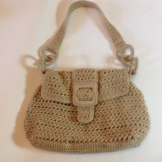 Like New SaK Macramé Small Bag Macramé Small bag by SaK in beige with inside zipper pocket self own pocket and two other small pocket golden hardware and strap attached by three hardware rings with net around them SaK Bags Shoulder Bags