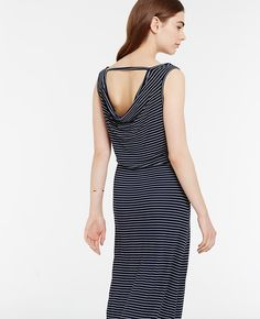 """From sandy beaches to city streets, our draped back maxi boasts a long and lean silhouette that works anywhere. Pair it with sandals for casual comfort, or a wedge for added height and style. Scoop neck. Sleeveless. Cowl back with strap. 41 1/2"""" from natural waist."""