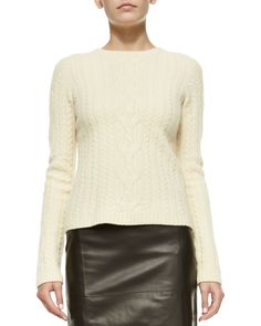 THE ROW Wool/Cashmere Cable-Knit Sweater & High-Waist Leather Skirt