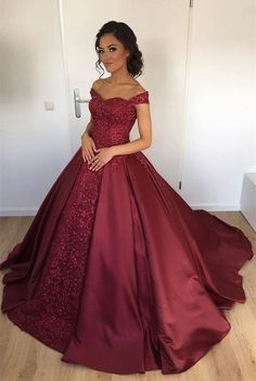 Ball Gown Off Shoulder Burgundy Satin Beaded Quinceanera Dress with Lace M1610