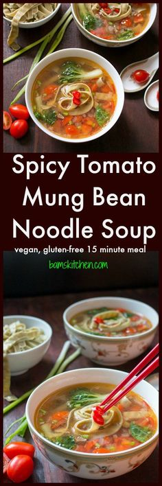 Spicy Tomato Mung Bean Noodle Soup / Vegan/ Gluten-Free/ Ready in 15 minutes/ #vegan #soup #easyrecipe https://www.hwcmagazine.com
