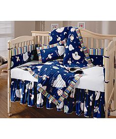 baby boy crib bedding solar system |  brown rocket ship outer