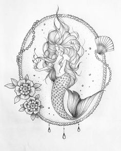 Tattos with Meaning – Meaningful tattoos Mermaid Tattoo Designs, Mermaid Drawings, Mermaid Tattoos, Feather Tattoos, Mermaid Art, Body Art Tattoos, Art Drawings, Sirene Tattoo, Blackwork