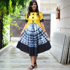 A Tie Dye Story - Rustorange Simple Kurti Designs, Blouse Designs, Hand Work Blouse Design, Stylish Dresses For Girls, Kurti Designs Party Wear, Tie Dye Dress, Textiles, Indian Outfits, Flare Dress