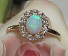 Gorgeous 18k TIFFANY Opal Diamond Ring-Currently available from DIVINE FINDS JEWELRY at RUBY LANE