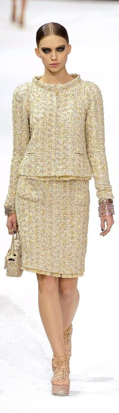 Chanel ~ Spring Tweed Skirt Suit w Fringe Trim 2011
