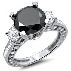 3.75ct Black 3 Stone Round Diamond Engagement Ring 18k White Gold Vintage Style / Front Jewelers