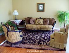 """(BrandonRugs.com) Our customer in Quakertown, PA (Bucks County) selected this intricately hand-knotted, """"Silk Flower"""", Persian Tabriz design rug (made in China) to anchor and unite the luxurious E.J. Victor furnishings in her elegant living room."""