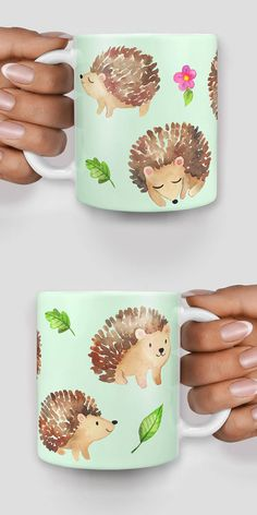 Cute hedgehogs everywhere mug. This mug is perfect for the office, the home or as a funny gift for a friend! The mug is ceramic and comes as a standard size - 11oz Please note these are mock images and printed products may vary slightly in color