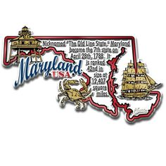 "Our Maryland Information Map Magnet measures approximately 6 square inches and has a thickness of 0.1"""". This Classic Maryland Information Map Magnet is perfect for any refrigerator or metal surface a"
