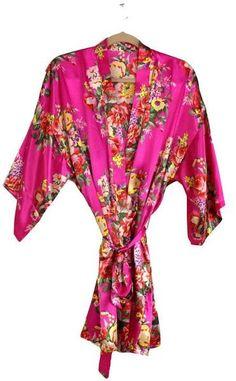 30383ede58 Satin Floral Robe - Hot Pink Bridesmaid Boxes