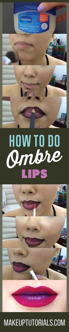 How To Make An Ombre Lip Tutorial Crazy Makeup Tips And Tricks By Makeup Tutorial . Ombre Lips Tutorial, Lip Tutorial, Lip Makeup Tutorial, Makeup Tricks, Diy Makeup, Makeup Tutorials, Tips And Tricks, Makeup Revolution, Dark Purple Lips