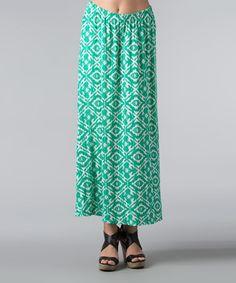 Look what I found on #zulily! Green Ikat Maxi Skirt - Women by Kaktus #zulilyfinds
