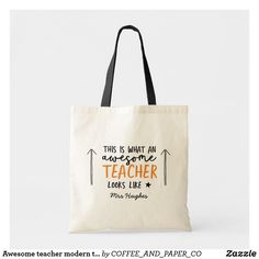 c575fc559 Awesome teacher modern typography orange gift tote bag Teacher Tote Bags,  Teacher Appreciation Gifts,