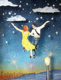La La Land, illustration by Mar Cerdà for Entertainment Weekly (paper cut and watercolor) Entertainment Weekly, Ryan Gosling, Wes Anderson, Viaje A Darjeeling, Movies Showing, Movies And Tv Shows, Damien Chazelle, Music Tv, Good Movies