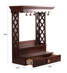 Buy Walnut Mango Wood Pooja Mandir Without Door By Furnicheer Online – Pooja Shelves – Spiritual – Home Decor – Pepperfry Product Antique Walnut Mango Wood Avaneesh Wall Mounted Temple by Furnicheer Wooden Temple For Home, Temple Design For Home, Temple Room, Home Temple, Bedroom Furniture Design, Home Decor Furniture, Furniture Online, Wooden Furniture, Furniture Factory