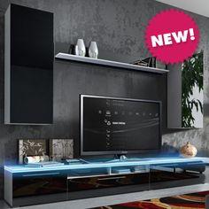#mueblesalon de #diseño #moderno Estefanía, en #blanco o #negro, puertas lacadas alto brillo. ¡¡¡Sólo 439€!!! www.mueblesbonitos.com