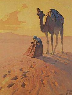 Peinture d'Algérie .Peintre Polonais Adam Styka (1890 - 1959) ,Huile sur toile , Titre .Ouargla.