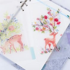 5pcs Watercolour Hope Deer Planner dividers/A5 by mycraft2014