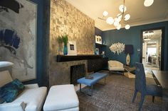 stunning room at the Kips Bay Showhouse We love how our bench, desk chair, and corner white chair look. Charles did a beautiful job designing the pieces. Teal Wall Colors, Teal Walls, Kips Bay Showhouse, Fireplace Wall, Great Rooms, Living Spaces, Living Room, Architecture Design, House Design
