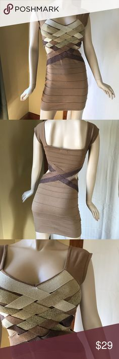 Hot Miami Styles metallic & tan bandage dress Sexy, tight fitting dress made of woven strips of stretchy fabric. Tan with different colors of metallic fabric in gold and shades of brown. In very good condition with no stains, snags or flaws.  The care and materials tag has been washed away or was misprinted. I do not know the material content. It probably requires dry cleaning. Hot Miami Styles Dresses