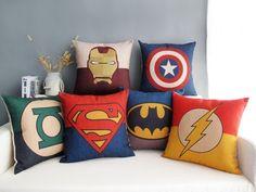 On Sale - Decorative Cotton Linen Fabric Cushion Case Throw Pillow Retro Vintage Cartoon Iron Man Batman Superman Lantern Flash Captain Hero by puresupply on Etsy https://www.etsy.com/listing/227991720/on-sale-decorative-cotton-linen-fabric