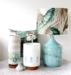 handprinted hibiscus table lamp