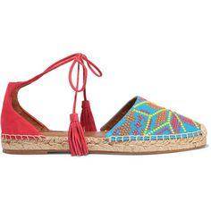 Aquazzura Palm Springs embroidered canvas and suede espadrilles ($520) ❤ liked on Polyvore featuring shoes, sandals, flats, blue, suede flats, blue suede sandals, ankle strap sandals, blue suede shoes and blue flats