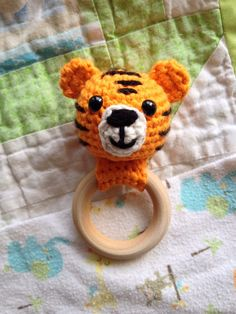 Crochet Baby Toys, Crochet Bebe, Wooden Teething Ring, Newborn Toys, Baby Bonnets, Teething Toys, Jungle Animals, Crochet Patterns Amigurumi, Stuffed Toys Patterns