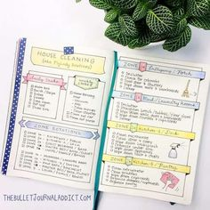 Spring cleaning can be fun and easy if you use your BuJo! Here are ideas and inspirations for Bullet Journal cleaning trackers and a free KonMari checklist. Doodle Bullet Journal, Bullet Journal Junkies, Bullet Journals, Zone Cleaning, Cleaning Checklist, Cleaning Schedules, Cleaning Routines, Cleaning Lists, Speed Cleaning