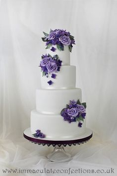 Purple and Sage Floral Wedding Cake - Award Winning Cakes by Natalie Porter