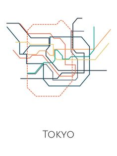 Minimalist print showing the route of Tokyos metro network. Tokyo Map, Neo Tokyo, Tokyo Subway, Underground Map, Map Sketch, Metro Map, Unique Maps, Tatoo Designs, Subway Map