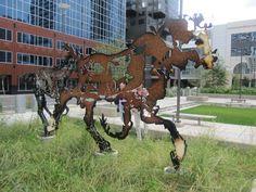 Metal horse in Calgary, Alberta, Canada
